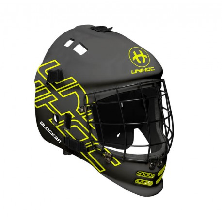 UNIHOC Goalie Mask Blocker black/neon yellow