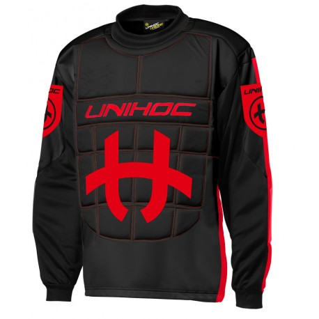 UNIHOC Goalie sweater Shield black/neon red SR