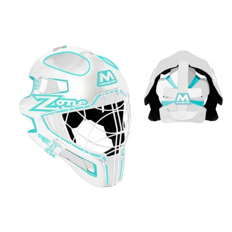 ZONE Goalie mask Monster Cat Eye Cage white/light turquoise