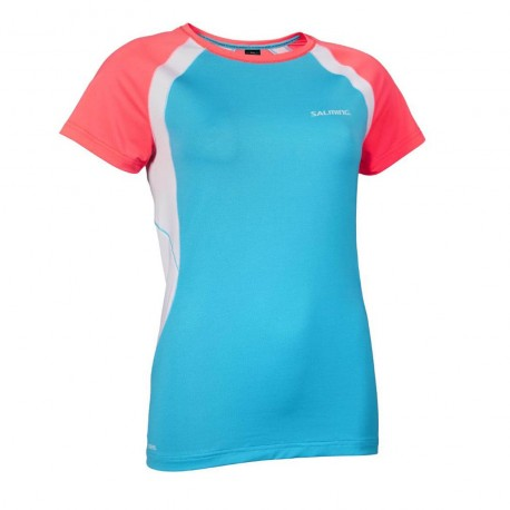 SALMING Nova Tee Wmn Coral/Light Blue