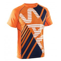 Běžecké triko SALMING Running Tee Men Orange/Navy.
