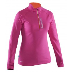 Dámská běžecká mikina se zipem SALMING Running Halfzip LS Women Pink.